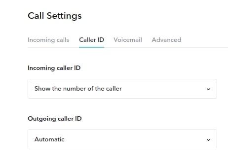 Caller ID settings